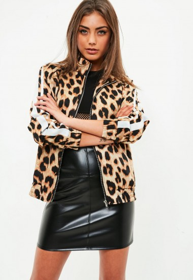 missguided brown animal print tracksuit top – casual glam – leopard prints