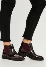 MISSGUIDED burgundy patent studded chelsea boots