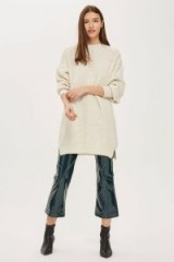 Topshop Cable Shift Dress | oatmeal sweater dresses | neutral knitwear