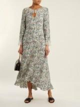 VILSHENKO Cassidy ruffle-trimmed silk-chiffon dress ~ ruffled floral print dresses