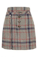TOPSHOP Checked Button Zip Mini Skirt / check print skirts