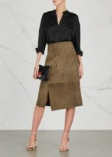 VINCE Chocolate suede midi skirt ~ chic brown skirts