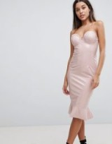 Club L High Shine Bandeau Bodycon Dress With Frill Hem | nude strapless party dresses