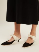 THE ROW Coco satin-bow suede mules