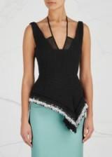 ROLAND MOURET Cottingham peplum cotton top ~ black asymmetric evening tops