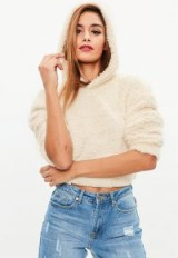 missguided cream teddy fur hooded crop jacket – snugly cropped hoodie
