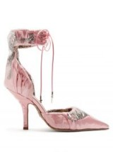 PACIOTTI BY MIDNIGHT Crystal-embellished ruched satin pump ~ beautiful pink shoes
