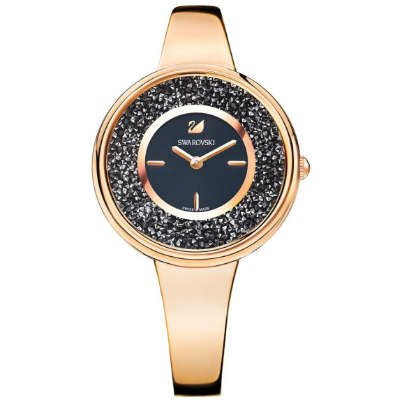SWAROVSKI CRYSTALLINE PURE WATCH ROSE GOLD TONE – black crystal bling watches