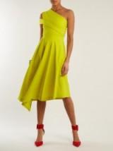 PREEN BY THORNTON BREGAZZI Danica chartreuse-yellow one-shoulder A-line dress