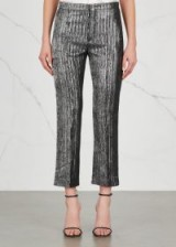 ISABEL MARANT Dansley silver cropped trousers / metallic cropped pants