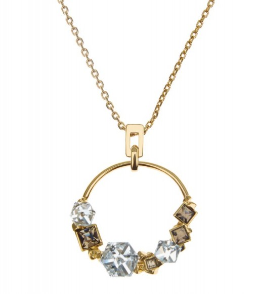 REISS DARCEY CLUSTER PENDANT NECKLACE WITH CRYSTALS FROM SWAROVSKI GOLD ~ chic crystal fashion jewellery