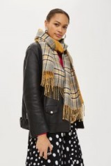 TOPSHOP Double Faced Checked Scarf / check print fringed scarves