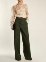 ROCHAS Dragonfly-print ruffle-trimmed silk-organza blouse ~ sheer cream printed blouses
