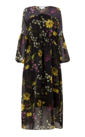 WAREHOUSE DUTCH FLORAL MIDI DRESS / flower printed dresses