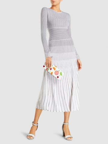 ELIZABETH AND JAMES Sheridan Merino Wool-Blend Midi Dress ~ chic stripe print dresses ~ effortless style clothing