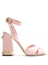 DOLCE & GABBANA Embellished suede sandals ~ pink block heel shoes ~ beautiful Italian footwear
