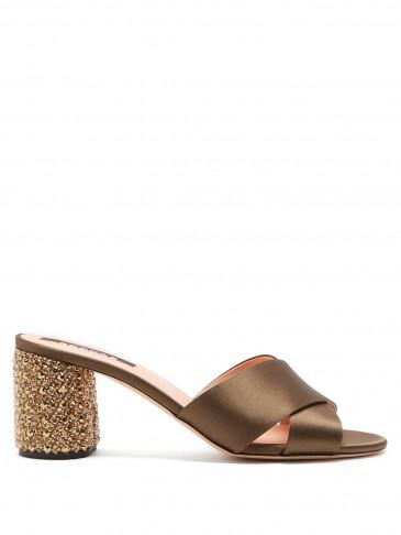 ROCHAS Embellished-heel satin mules ~ crystal block heel sandal