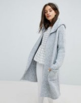 Esprit Long Line Ribbed Cardigan With Hood   long grey hooded cardigans