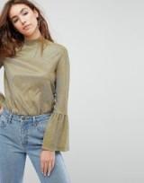 EVIDNT Metallic Hi Neck Top | gold fluted sleeve tops