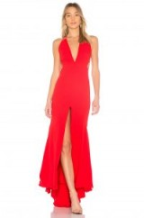 FAME AND PARTNERS THE SURREAL DREAMER DRESS | long glamorous red plunge front dresses