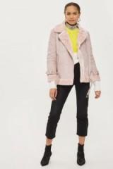 TOPSHOP Pink Faux Shearling Biker Jacket
