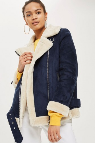 TOPSHOP Faux Shearling Biker Jacket / oversized navy & cream jackets