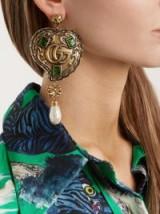 GUCCI Feline GG-heart drop earrings ~ large statement jewellery