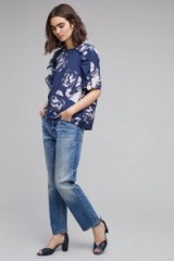 Selected Femme Finna Oversized Floral T-shirt / navy blue frill trimmed tops / ruffle t-shirts