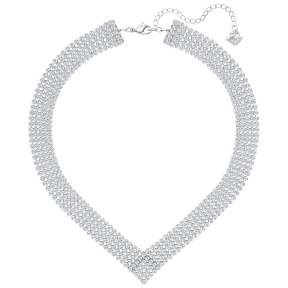 SWAROVSKI FIT NECKLACE, WHITE, PALLADIUM PLATING – bling jewellery – crystal V-shape necklaces