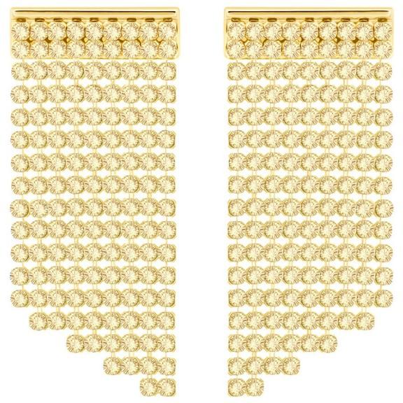 SWAROVSKI FIT SHORT PIERCED EARRINGS – gold tone bling jewellery – crystal statement jewelry