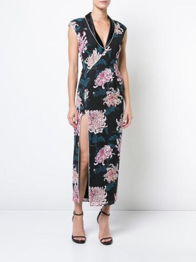 FLEUR DU MAL V-neck slit dress / floral front slit dresses