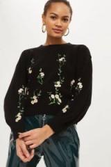 TOPSHOP Floral Embroidered Ribbed Jumper / black jumpers