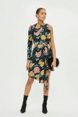 TOPSHOP Floral One Sleeve Dress – asymmetric flower print dresses