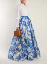 CAROLINA HERRERA Floral Vine-print pleated skirt ~ long full statement skirts