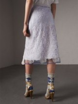 Burberry Floral-embroidered Tulle Skirt Hydrangea blue/white – feminine wrap style skirts – semi sheer overlay