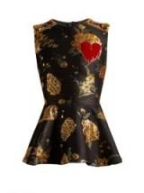 DOLCE & GABBANA Floral-jacquard peplum-hem top ~ beautiful Italian fashion