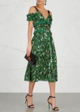 SELF-PORTRAIT Floral-print open-shoulder dress ~ green occasion dresses