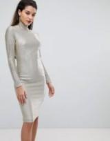 Flounce London High Neck Metallic Midi Dress – silver bodycon dresses – glamorous party wear