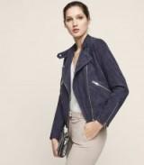 Reiss FREYA COLLARLESS SUEDE BIKER JACKET INDIGO ~ blue zipped jackets