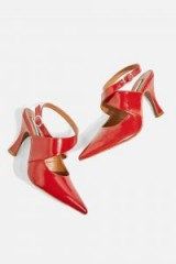 Topshop GALACTIC Cross Strap Court Shoes / red strappy courts