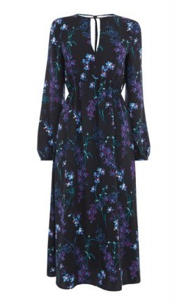 WAREHOUSE GILLY FLORAL MIDI DRESS / black flower print dresses - flipped