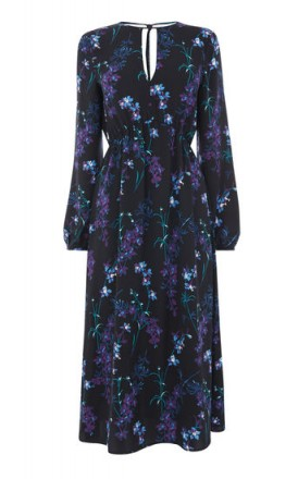 WAREHOUSE GILLY FLORAL MIDI DRESS / black flower print dresses