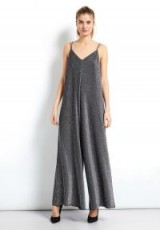 hush Glitter Jumpsuit in Black/Silver Sparkle / strappy wide leg jumpsuits / evening fashion