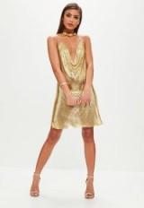 MISSGUIDED gold backless chainmail cowl shift dress – metallic plunge front party dresses