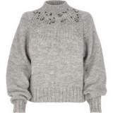 River Island Grey chunky knit jewel trim high neck jumper   embellished jumpers