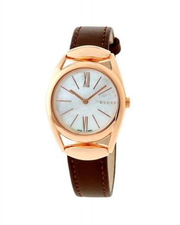 Gucci Horsebit Medium Golden Stainless Steel Watch w/ Brown Leather Strap / stylish watches