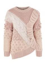 TOPSHOP Handknit Multi Stitch Jumper – pink chunky textured jumpers