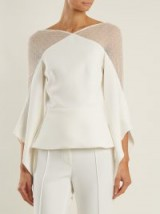 ROLAND MOURET Harthill lace-panelled top ~ chic fluted sleeve tops