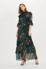 YAS Green High Neck Maxi Dress – long floral print dresses