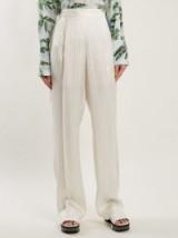 STELLA MCCARTNEY High-rise striped-jacquard silk-satin trousers – luxe pants – neutrals